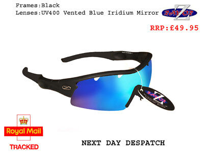 RayZor Uv400 Black Sports Wrap Sunglasses Vented Blue Mirrored Lens RRP£49 (220)