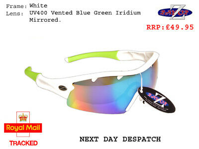 RayZor Uv400 White Sports Wrap Sunglasses Vented Green Mirrored Lens RRP£49 (220