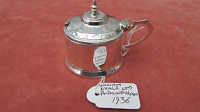 A Superb Large Solid Silver Edwardian Hexagonal Drum Mustard Pot Birmingham 1936