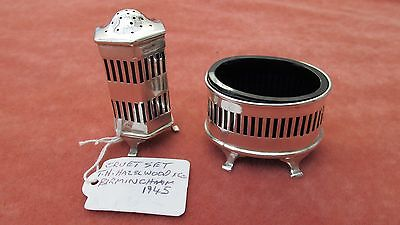 A Lovely Solid Silver Pierced Design Salt & Pepper Set Hallmarks Birmingham 1945