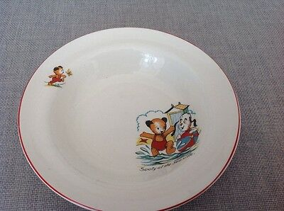 """Vintage Sooty childrens bowl decorated with """" Sooty and Sweep  at the Sea Side """""""