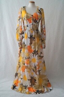 Vintage 70s retro flower daisy boho hippy festival maxi dress Size 10-12