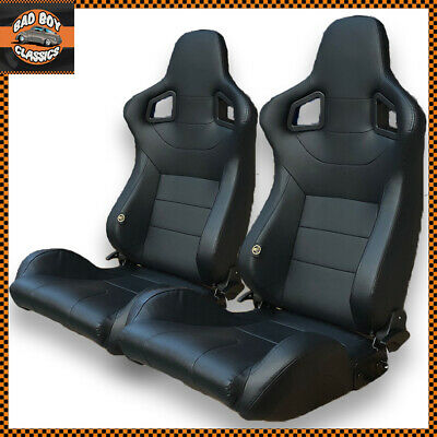 Pair BB6 Reclining Titling Bucket Sports Racing Seats Black + Universal Runners