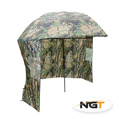 """NGT 45"""" Camo Umbrella Brolly with Zip On Sides Coarse Carp Fishing Shelter"""