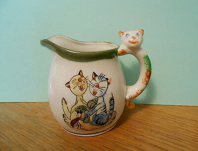 Vtg Japan Creamer/Pitcher Singing Cats with Cricket w/ CAT HANDLE Art Pottery