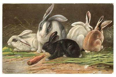 Vintage Postcard Early 1900 Rabbits Bunnies Easter Un-Posted