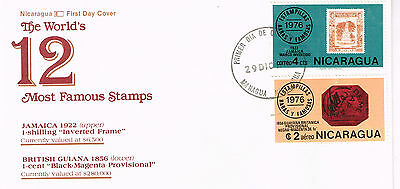 Worldwide Cover Nicaragua Cover Fdc 1976 Un-Addressed 12 Most Famous Stamps