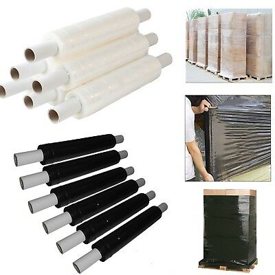 1 2 3 6 12 Rolls Clear Black Extended Core Pallet Stretch Shrink Wrap Cling Film