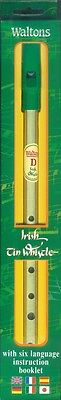 Irish Tin Whistle Brass Whistle in D with Six-Language Instruction 000634121