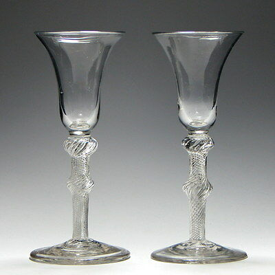 Pair Tall Georgian Double Knopped Air Twist Wine Glasses c1750