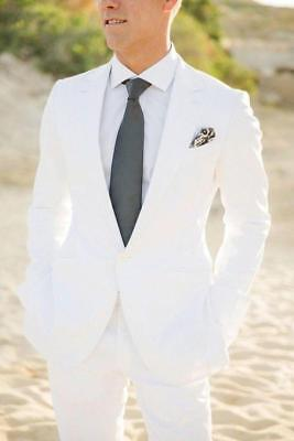 New White 2 Piece Groom  Tuxedos Men Suits Summer Beach Wedding Jacket+Pants