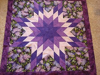 LILACS AMONG THE STAR QUILT TOP - Not Quilted, Machine pieced, Made in the USA