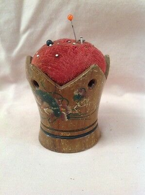 Nice wood pin cushion carved and painted 19th C