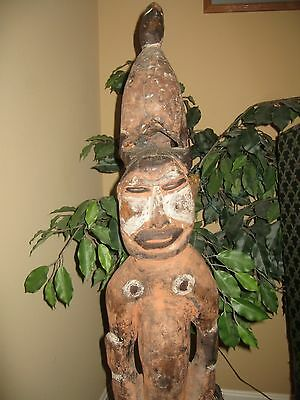 """Papua New Guinea, Vintage wood, """"Woman & Bird', from the late1950's, Estate Sale"""