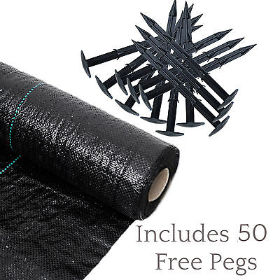 50m2 Heavy Duty Weed Control Woven Fabric Ground Cover Mulch Membrane Mat 100gsm