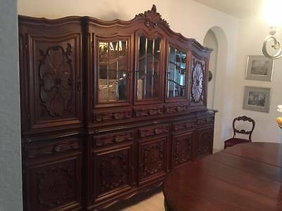 Superb Italian Carved Walnut Bookcase , Dispaly Cabinet.