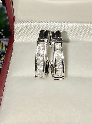 9Ct White Gold Channel Set Diamond  Hoop Huggie Earrings .40ct