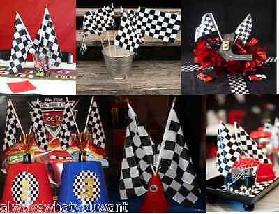 MAKE IT WITH 12 Black & White Checkered Flags Centerpiece Racing Party Car Decor
