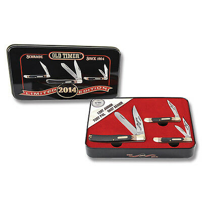 Schrade Old Timer 2014 Limited Edition 3 Knives Gift Tin Box