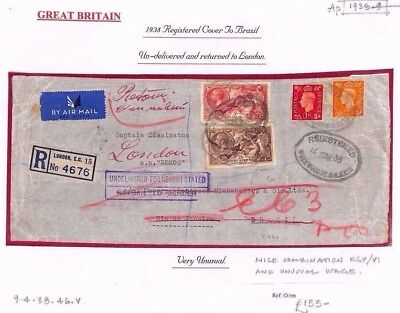 AP1938.9 GB London Registered Airmail 7/9 Rate Merchant Navy/BRAZIL Undelivered