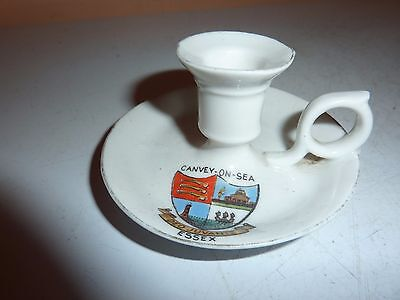 Gemma China 8.3Cm Diam Miniature Hand Held Candlestick With Canvey-On -Sea Crest