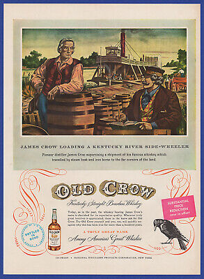 Vintage 1950 OLD CROW Whiskey Alcohol Liquor Print Ad 50's