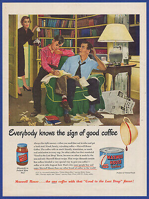 Vintage 1950 MAXWELL HOUSE Coffee Print Ad 50's