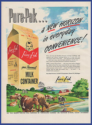Vintage 1950 PURE-PAK Milk Container Dairy Farm Print Ad 50's