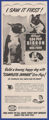 Vintage 1950 KELLOGG'S GRO-PUP Ribbon Dog Food Pet Print Ad 1950's