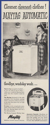 Vintage 1950 MAYTAG Automatic Washing Machine Washer Appliance Print Ad 1950's