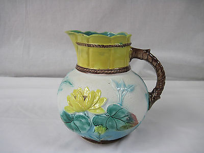 """Majolica Faience Pitcher 8"""" Tall, Yellow Water Lily, Leaves, Rope Handle      nt"""