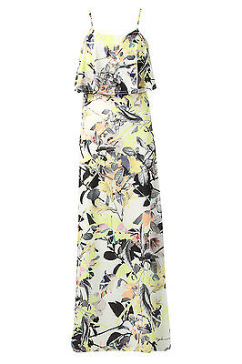 Womens Ladies Sleeveless Floral Printed Double Layer Frill Cami Long Maxi Dress