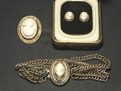 Lot of 4 Vintage Gold Filled Shell Cameo Pieces, Bracelet, Brooch, Earrings