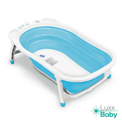 Luxx Baby BF1 Folding Bath Tub by Karibu w/Non-Slip Mat Light Blue