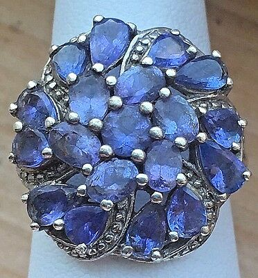 Vintage Purple Rhinestone Cocktail Ring 925 Q Silver IN LN Tanzanite or Amethyst