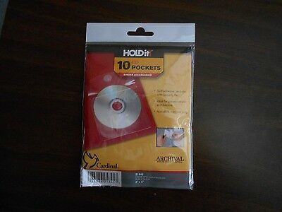 Lot of 15 Cardinal HOLDit! Self-Adhesive CD/DVD Pockets 10 pack- 21845