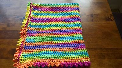 Hand crochet baby blanket rainbow colours