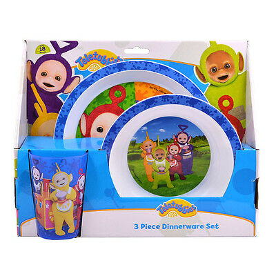 Teletubbies 3 Pack Dinner Set Plate Bowl Cup Gift New Official Licensed Product