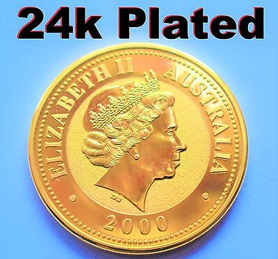 24k GOLD PLATED 2000 Australian 1 oz Year of the Dragon SOUVENIR - COPY COIN