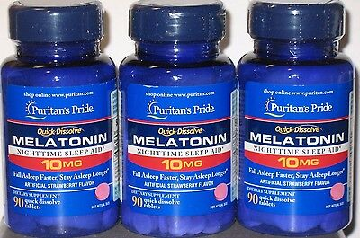 Puritan's Pride Melatonin 10mg 270 Quick Dissolve Strawberry Tablets - Sleep Aid