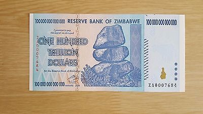 Zimbabwe 100 Trillion Very Rare Replacement Note Unc