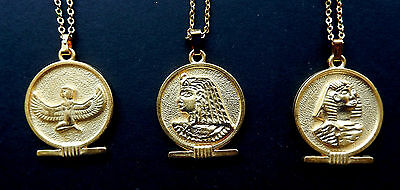 Egyptian Earrings/ Pendants - Isis, Cleopatra, Sphinx /Round Cartouche Gold Tone