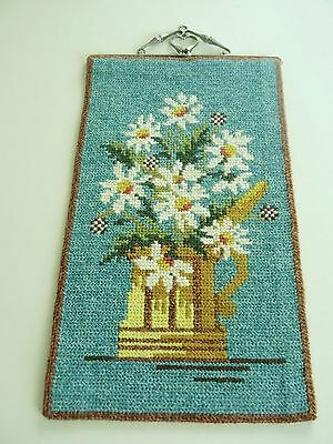 Swedish vintage hand embroidered blue wool wallhanging tapestry, stein & daisies