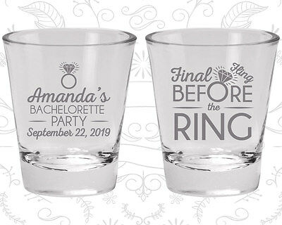 Bachelorette Party Shot Glasses Glass Favor (60074) Final Fling Before The Ring
