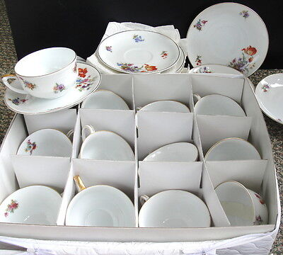 DRESDEN Pirkenhammer Czechoslovakia. 26pc Coffee Tea Cup & Saucer Set