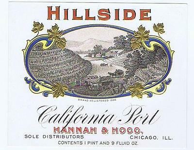 Hillside 1906 brand Hannah & Hogg Chicago IL lithograph liquor bottle label #148