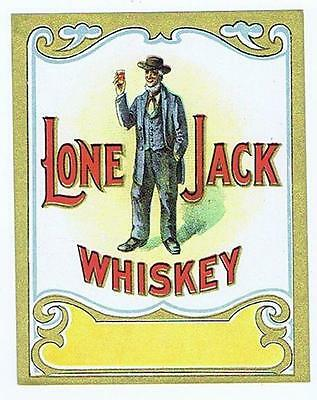 Lone Jack Whiskey antique lithograph liquor bottle label #150