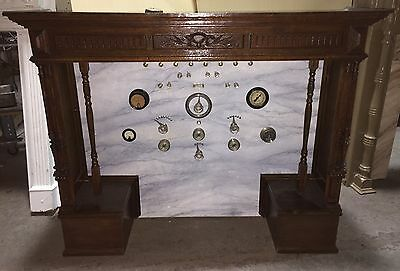 "Bizarre Antique Vintage Gauges  Electrical Panel Wood Mantel  ""m525"""