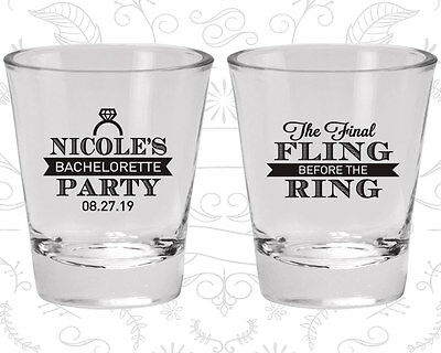 Bachelorette Party Shot Glasses Glass Favors (60110) Final Fling Before The Ring