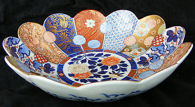 Large FUKAGAWA Japanese Imari fluted bowl - Meiji period - C 1910